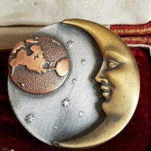 Vintage man in the moon brooch celestial pin k&t
